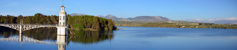 Panorama of Cubillas reservoir in the ptovance of Granada in And Royalty Free Stock Image