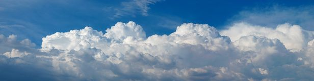 Panorama of Cumulus Clouds Stock Images