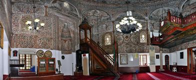 Panorama, cupola interna della moschea di bey di Ethem, Tirana fotografia stock libera da diritti