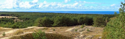 Panorama Curonian mierzeja Obrazy Royalty Free