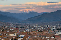 Panorama of Cusco at sunset, Peru Royalty Free Stock Photos