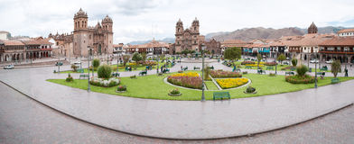Panorama of Cuzco, Peru,. The ancient capital of the Incas stock image