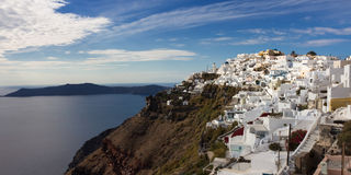Panorama of the cycladic village Imerovigli Stock Photo