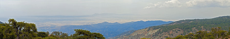 Panorama of Cyprus from Olympos. Panoramic view of Cyprus from Olympos Stock Photos