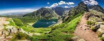 Panorama of Czarny Staw Gasienicowy in Tatra Mountains, Poland. Europe Royalty Free Stock Photography