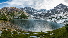 Panorama of Czarny Staw in High Tatras Stock Photography