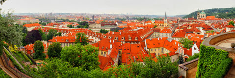 Panorama of the Czech city. With houses with a red roof Royalty Free Stock Photo