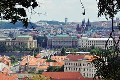 Panorama of the Czech town. Beautiful view of the city from the top of the Czech Royalty Free Stock Image
