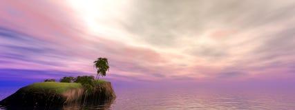 Panorama d'île de noix de coco Photographie stock
