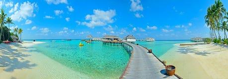 Panorama d'île des Maldives Photographie stock
