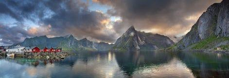 Panorama d'îles de Lofoten Photographie stock
