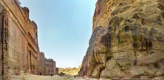 Panorama d'Al Khazneh ou le trésor à PETRA antique Photographie stock libre de droits
