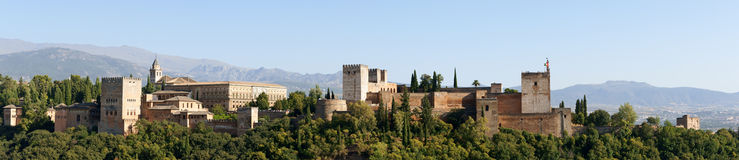 Panorama d'Alhambra à Grenade Photo stock