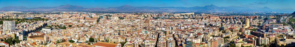 Panorama d'Alicante de Santa Barbara Castle, Espagne Images stock
