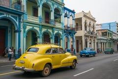 Panorama d'annata della vecchia via da Avana Fotografia Stock