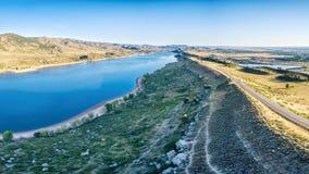 Panorama d'antenne de réservoir de Horsetooth Images libres de droits