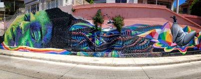 Panorama d'art de rêve de Valparaiso Photo stock