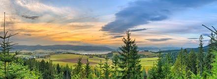 Panorama d'automne avec la forêt image stock