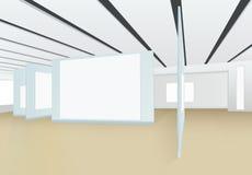 panorama 3D del pasillo vacío de la galería de imágenes con los tableros para fotografía de archivo