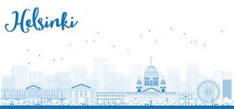 Panorama d'ensemble de vieille ville à Helsinki, Finlande illustration stock