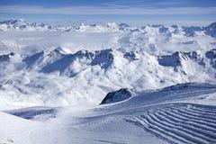 Panorama d'hiver d'Alpes Photos stock