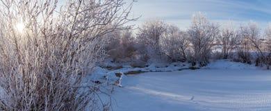 Panorama d'hiver de la rivière, Russie, Ural Images stock