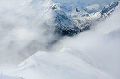 Panorama d'hiver des montagnes Images libres de droits