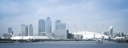 Panorama d'horizon d'arène d'O2 de ville de Londres Photographie stock libre de droits