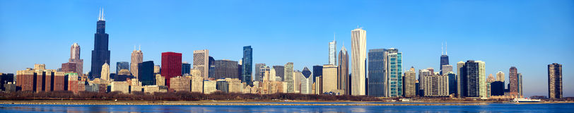 Panorama d'horizon de Chicago photo stock