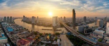 Panorama d'horizon de ville de Bangkok, Thaïlande Image libre de droits