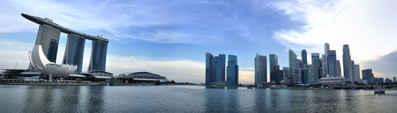 Panorama d'horizon et de fleuve de Singapour Images libres de droits