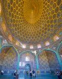 Panorama d'intérieur de Sheikh Lotfollah Mosque, Isphahan, Iran image stock