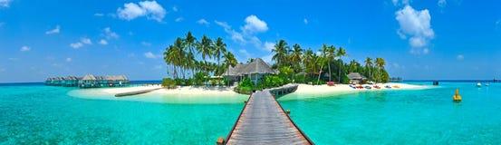 Panorama d'île des Maldives Photographie stock libre de droits