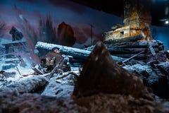 "Panorama 3D nannte ""Moscow 1941 Counteroffensiveâ€- am ""Russia, mein Historyâ€- historischer Park Lizenzfreies Stockfoto"