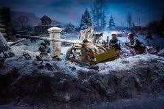 "Panorama 3D nannte ""Moscow 1941 Counteroffensiveâ€- am ""Russia, mein Historyâ€- historischer Park Lizenzfreie Stockfotografie"