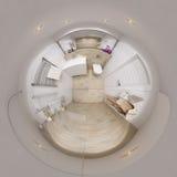 panorama 3D sfärisk 360 av badruminre Arkivbild