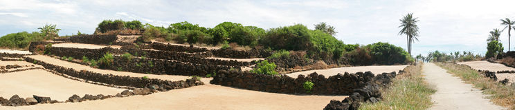 Panorama d'un champ sur une île photo stock