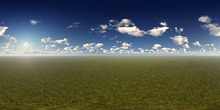 Panorama d'un jour ensoleillé avec l'horizon de montagnes Photo libre de droits