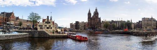 Panorama da alta resolução do canal de Amsterdão Imagens de Stock Royalty Free