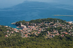 Panorama da antena de Veli Losinj imagens de stock royalty free