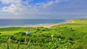 Panorama da baía branca do parque, Ballycastle, condado Antrim, Irlanda do Norte vídeos de arquivo