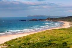 Panorama da baía branca do parque, Ballycastle, condado Antrim, Irlanda do Norte Imagens de Stock Royalty Free