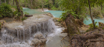 Panorama da cachoeira de Kuang Si Foto de Stock Royalty Free