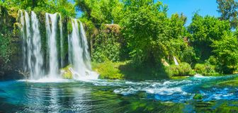 Panorama da cachoeira superior de Duden e da garganta, Antalya, Turke imagem de stock royalty free