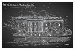 Panorama da casa branca Quadro-negro Ilustração do vetor EPS10 Fotografia de Stock Royalty Free