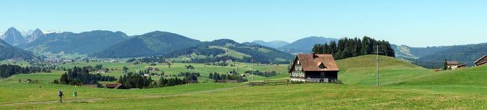 Panorama da casa da exploração agrícola e do pasto verde fotografia de stock