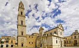 Panorama da catedral barroco do lecce foto de stock royalty free