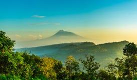 Panorama da cena da paisagem da montanha com árvore de grama e backgr do céu Imagem de Stock