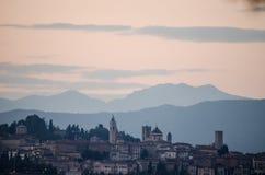 Panorama da cidade Bergamo de Itália Fotografia de Stock