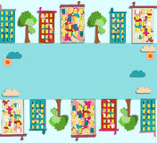 Panorama da cidade com o condomínio colorido com imagens, Foto de Stock Royalty Free